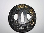 Dragon design , shakudo Tsuba, Edo period