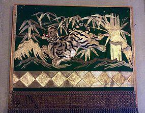 Buddhist temple votive Tiger hanging , edo