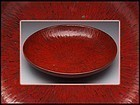 Red lacquer plate ( tray ) .
