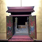 Rare red lacquer portable buddhist shrine,edo 18 th c