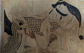 Erotic print by Utamaro school, edo period