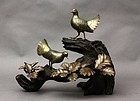 Fine bronze okimono depicting Doves on the Oak tree