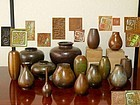 Lot of 10 bronze ikebana vases
