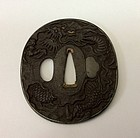 Fine Katana Tsuba depicting Dragon in the clouds,Edo period