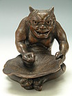Old Japanese Bizen Ware Demon Figurine