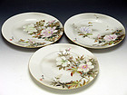 Three Japanese Meiji Era Porcelain Plates Yokohama