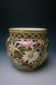 19th Century Zsolnay Reticulated Porcelain Jardinière