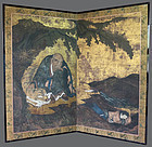 Exquisite Antique Edo Period Two-fold Screen