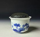 Meiji Period Sometsuke Porcelain Koro by Seifu Yohei III