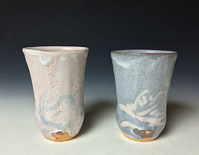 Shino Beer Mug Set by Fujiwara Keisuke