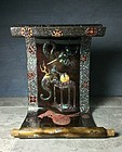 Antique Flower Stand in the Shape of a Scroll with Dragon