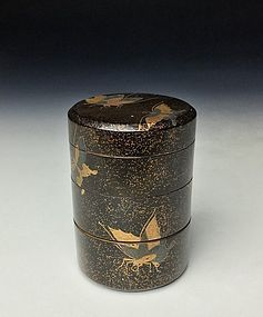Edo Period Maki-e Three Compartment Maki-e Lacquer Box