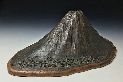 Meiji Period Bronze Miniature of Mount Fuji