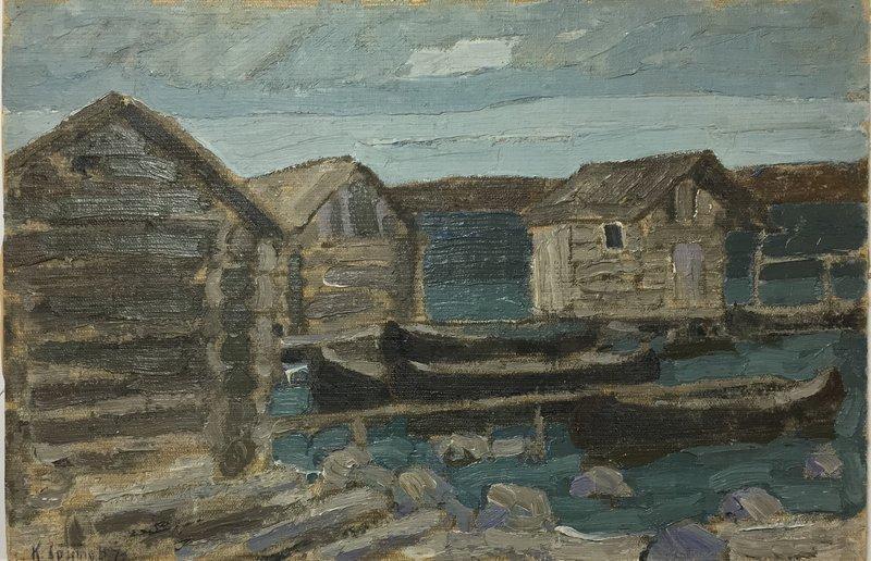 Painting by Kim Britov: �Onega village�, 1973
