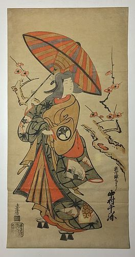 Edo Period Woodblock print (ukiyoe) by Torii Kiyomasu I