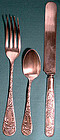 Oneida CHRISTINE 3 Pc. SP YOUTH FLATWARE SET c1890