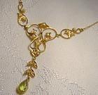 Antique Edwardian 14K Peridot & Seed Pearls Lavaliere Necklace 1900-10
