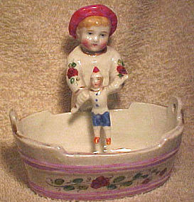 19thC CHINA CHILD with DOLL in WASHTUB FIGURINE