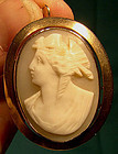 12K ROSE GOLD SHELL CAMEO BROOCH PENDANT c1870-80
