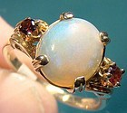 Excellent 10K OPAL and GARNETS RING c1950s