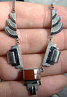 INDUSTRIAL DECO PLATED SILVER & GLASS NECKLACE c1930
