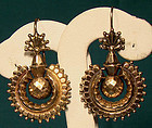 12K VICTORIAN PIERCED SWINGING EARRINGS 1880 1890
