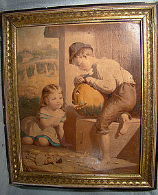19thC HALLOWE'EN LITHOGRAPH in FRAME
