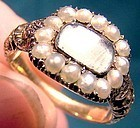 GEORGIAN 15K REMEMBRANCE MOURNING RING w/ Pearls 1820 1830 15 K Hair