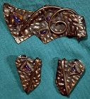 Vintage Modern COPPER & SAPHIRETS PIN & EARRINGS c1950s