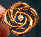 Victorian 9K PEARL LOVERS KNOT PIN c1895-1900