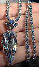 Signed SHERMAN TRI-COLOUR BLUE RHINESTONE NECKLACE