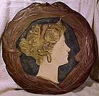 Ernst Wahliss ART NOUVEAU LADY CERAMIC WALL PLAQUE 1905