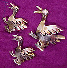 3 STERLING DUCKS SCATTER PINS c1930s-40s