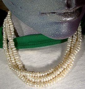 3 STRAND BAROQUE PEARLS NECKLACE 14K SAPPHIRES CLASP