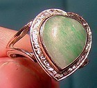 Deco 14K WHITE GOLD Heart Shaped JADE RING c1920s