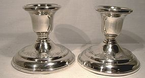 Pair BIRKS STERLING SILVER ENGRAVED CANDLESTICKS