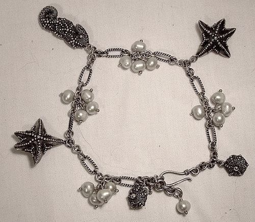 SAJEN STERLING SEAHORSE STARFISH PEARLS CHARM BRACELET