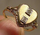 Vintage 10K GOLD HEART SIGNET RING WITH DIAMONDS c1930s