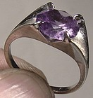 10K WHITE GOLD SYNTHETIC ALEXANDRITE RING c1960