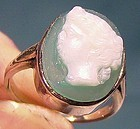 14K GREEN SARDONYX WHITE GOLD RING c1920s