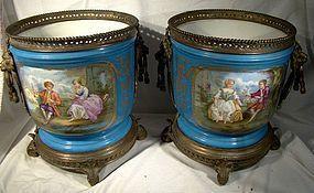 Pr. Stunning 19thC SEVRES TYPE Hand Painted JARDINIERES