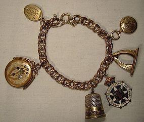 Victorian RGP Watch Chain Charm Bracelet w/ 6 Antique Charms 1900
