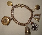 Victorian RGP Watch Chain Charm Bracelet w/ 6 Antique Charms 1900