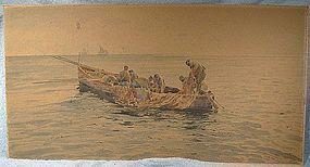 19thC V. LORIA ITALY SIGNED FISHING BOAT WATERCOLOUR