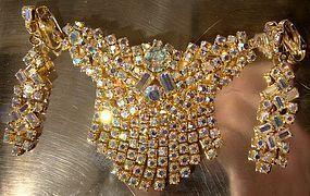 AURORA BOREALIS RHINESTONE SWEEP PIN & EARRINGS c1960s