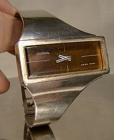 CONSUL STERLING MODERN WRISTWATCH c1970