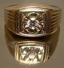 MAN'S 10K & 14K DIAMOND RING c1950s-60s with Appraisal