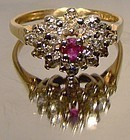 18K RUBY & DIAMONDS CLUSTER RING c1960s-70s