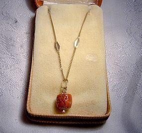 18K Red Coral Pendant Necklace in Box 1960s Uno A Erre