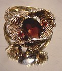 Cool HAND MADE 10K + GARNETS FLOWER RING c1960s